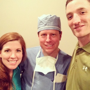 Two ecstatic parents with Dr. Dabal. Thank you for literally saving our daughter's life.