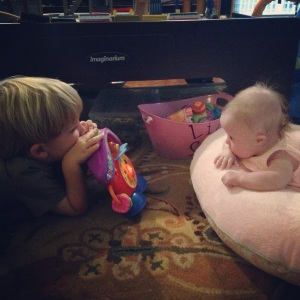Working on head control is more fun when you have a big brother helping you.
