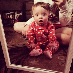 She loves looking at herself in the mirror! It helps with her learning how to sit. Good to know she can see herself clearly!